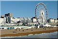 TQ3103 : Brighton beach and seafront with wheel by Roger  Kidd