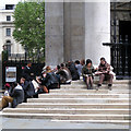 TQ3080 : Lunch on the steps of St Martin-in-the-Fields by Robin Stott