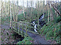 SK2666 : Footbridge over Smeltingmill Brook by Andrew Hill
