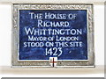 Photo of Richard Whittington blue plaque