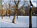 TQ2982 : Euston Square Gardens in snow by Ian Yarham