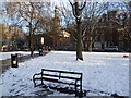 TQ2982 : Euston Square Gardens in the snow by Ian Yarham