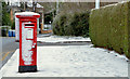 J3874 : Snow and pillar box, Belfast by Albert Bridge
