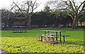 SO8832 : Picnic tables in Victoria Gardens, Tewkesbury by P L Chadwick