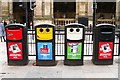 NZ2463 : Brightly coloured bins by Rose and Trev Clough