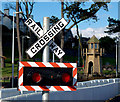 J5082 : Railway crossing sign, Pickie, Bangor by Rossographer