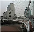 SJ8398 : The Trinity footbridge Manchester by Steve  Fareham