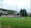 SO2701 : Floodlights and clubhouse, Memorial Ground, Pontypool by John Grayson