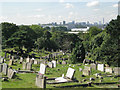 SP0891 : Tombs and towers: a view of Birmingham from Witton Cemetery by Robin Stott