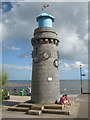 SX9472 : Lighthouse with sculpture, the Point, Teignmouth by Robin Stott