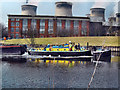 SE4824 : The Barge &quot;Wheldale&quot; passing the old Ferrybridge power station generating house by derek dye