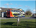 SU0783 : Bus leaves a Marlowe Way bus stop, Royal Wootton Bassett by John Grayson