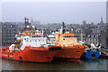 NJ9406 : Rig support vessels at Trinity Quay, Aberdeen by Mike Pennington