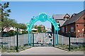 SZ6099 : Entrance gate to Leesland C of E Infant School by Barry Shimmon