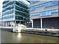 SJ8097 : Pier of the swung Media City footbridge by Christine Johnstone