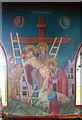 TQ3189 : St John the Baptist, Wightman Road - Wall painting by John Salmon