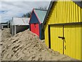 SH3127 : Part buried beach huts near Abersoch : Week 17