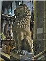 NZ2564 : Carved alabaster lion on the pulpit, St Nicholas Cathedral, Newcastle upon Tyne by Derek Voller