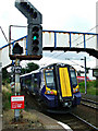 Dist:0.1km<br/>Class 380 train number 380 112 pulls out of the station, bound for Ayr.