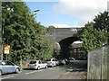 SP1296 : Railway bridge and traffic lights, Coleshill Road by Robin Stott
