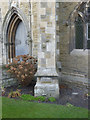 SE6032 : Buttress with bench mark on St Mary's Church by Alan Murray-Rust