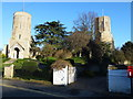 TL5663 : The twin towers of Swaffham Prior by Richard Humphrey