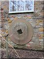 ST5563 : Former mill wheel-now incorporated into the building wall at Littleton Mill by Dr Duncan Pepper