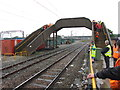 SJ7152 : Footbridge in Crewe Basford Hall Yard by Gareth James