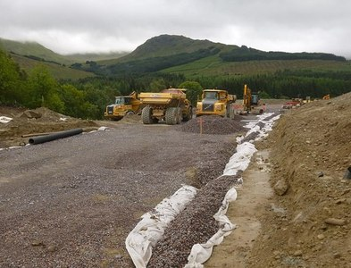 NN3825 : Construction site, A82 Crianlarich bypass by Craig Wallace
