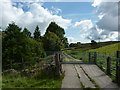 SJ9573 : Electric gate, Valeroyal Farm by Peter Barr