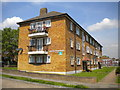Dist:0.5km<br/>One of four blocks of low rise flats on the north side of Ripon Gardens in Mansfield Park estate, Hook.
