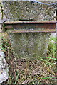 SU3990 : Benchmark behind clamp on gatepost near Woodhill Farm by Roger Templeman