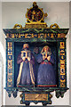 The Trevor Chapel contains this colourful wall monument to Sir John Trevor (�1629) and his wife Margaret, their effigies in period costume. Sir John was secretary to the Earl of Nottingham, serving the Navy in the reigns of Elizabeth I and James II, and was the builder of Plas Teg Hall, Pontblyddyn in 1610. The 23 heraldic badges on the surround represent the lineage of the Trevors with the Royal and Noble Tribes of Wales.