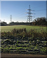TL5867 : Burwell: roadside view with pylons by John Sutton
