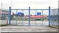 J3474 : Old harbour gates, Donegall Quay, Belfast (December 2014) by Albert Bridge
