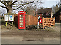 TM1897 : Parish notice board, telephone box and postbox in Flordon : Week 8