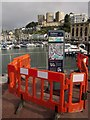 SX9163 : Cordoned-off information board, Torquay harbour by Derek Harper