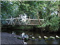 SK2999 : Wortley - footbridge and stepping stones by Dave Bevis