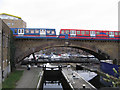 TQ3681 : Limehouse lock and DLR viaduct by Stephen Craven