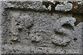 SW6128 : Breage: St. Breaca's Church: Carved initials near the south churchyard gate by Michael Garlick
