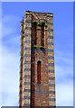 SO8276 : Slingfield Mill chimney (detail) in Kidderminster, Worcestershire by Roger  Kidd