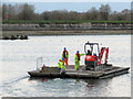 SP9113 : Repairing Startops Reservoir (8) The Builders Raft by Chris Reynolds