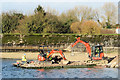 SP9114 : Repairing Startops Reservoir (12) Loading the Pontoon Raft with Rocks by Chris Reynolds