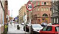 J3373 : 20 mph speed limit sign, Brunswick Street, Belfast (January 2016) by Albert Bridge