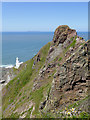 SS2327 : Cliff by Hartland Point in Devon by Roger  Kidd