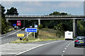 SE2913 : Exit Sliproad and Bridge, Woolley Edge Services (Northbound) by David Dixon