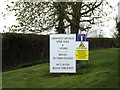 TM1256 : Crowfield Airfield Home Farm sign off The Green by Adrian Cable