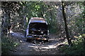 TR2549 : Burnt out vehicle, North Downs Way by N Chadwick