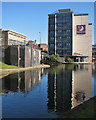 SK5739 : A Premier Inn reflected in the Nottingham Canal by John Sutton