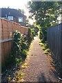 SZ0796 : East Howe: footpath E43 heads for East Howe Lane by Chris Downer